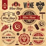 De inzameling van wijnetiketten Stock Afbeeldingen
