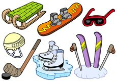 De inzameling van wintersporten Stock Foto's