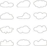 De inzameling van wolken Wolk gegevensverwerkingspak stock illustratie