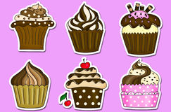 De inzameling van zes cupcakesstickers Royalty-vrije Stock Foto's