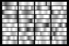 De inzameling van zilver, verchroomt metaalgradiënt Briljante platen met zilveren effect Vector illustratie stock illustratie