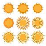 De inzameling van zonpictogrammen royalty-vrije stock fotografie