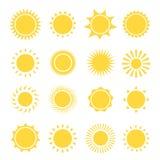 De inzameling van zonpictogrammen Vector illustratie stock illustratie