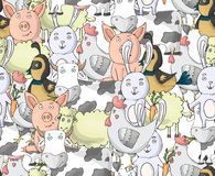 De inzamelings naadloos patroon van landbouwbedrijfdieren met koe, kip, varken, schapen, konijn, kwartels Beeldverhaal vectorkara stock illustratie