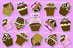 De inzamelingsachtergrond van Cupcakesstickers Stock Afbeelding
