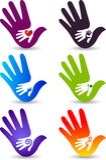 De inzamelingsemblemen van de hand stock illustratie