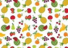 De inzamelingspatroon van fruitpictogrammen Stock Afbeeldingen