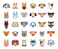 De inzamelingspictogrammen van het hondras - vectorillustratie Royalty-vrije Stock Afbeeldingen