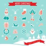 De Inzamelingsreeks van Kerstmispictogrammen Stock Foto