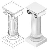 De Ionische isometrische geïsoleerde mening van de kolomstijl Royalty-vrije Stock Fotografie