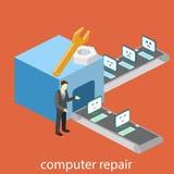 De isometrische bouw van computerreparatie de gebroken computers komen voor reparaties Vlakke 3d illustratie stock illustratie