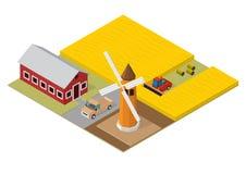 De isometrische bouw van landbouw vector illustratie