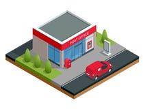 De isometrische Bouw van postkantoor en postauto Correspondentie geïsoleerde vectorillustratie stock illustratie