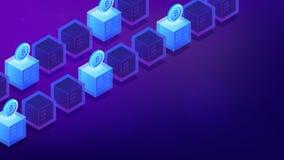 De isometrische computers van de bitcoinmijnbouw royalty-vrije illustratie