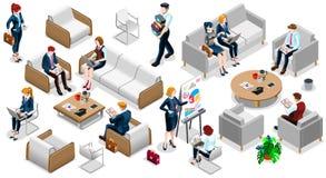 De isometrische 3D Vastgestelde Vectorillustratie Mensen Bedrijfs van Team Icon vector illustratie