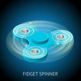 De isometrische 3d vector een blauw friemelt spinner of handspinner Friemel stuk speelgoed voor verhoogde nadruk, spanningshulp Royalty-vrije Stock Foto's