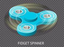 De isometrische 3d vector een blauw friemelt spinner of handspinner Friemel stuk speelgoed voor verhoogde nadruk, spanningshulp o Royalty-vrije Stock Foto's