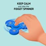 De isometrische 3d vectorhand met friemelt spinner of handspinner Friemel stuk speelgoed voor verhoogde nadruk, spanningshulp Stock Afbeeldingen