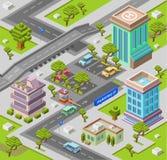 De isometrische 3D vectorillustratie van het stadsparkeerterrein van moderne stedelijke bureaugebouwen en van het auto'sparkeerte stock illustratie