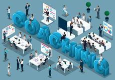 De isometrische 3d zakenlieden, concept de opleiding van personeel, trainen op bestelling onderwijst, personeel bij lezing, het g vector illustratie