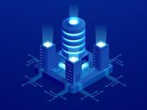De isometrische digitale banner van het technologieweb GROTE GEGEVENSmachine het Leren Algoritmen Analyse en Informatie Grote Geg royalty-vrije illustratie