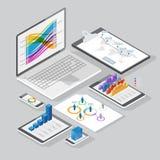 De isometrische elementen van het infographicsontwerp vector illustratie