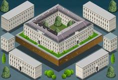 De isometrische Europese historische bouw Royalty-vrije Stock Afbeeldingen