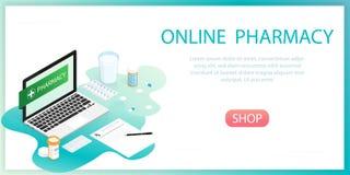 De isometrische fles van geneeskundepillen, online apotheek stock afbeelding