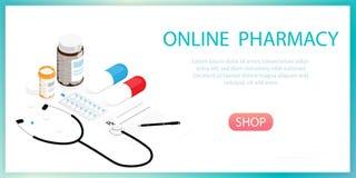 De isometrische fles van geneeskundepillen, online apotheekvector royalty-vrije stock afbeelding