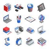 De Isometrische Geplaatste Pictogrammen van bureauhulpmiddelen Stock Afbeelding