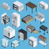 De Isometrische Geplaatste Pictogrammen van het keukenmateriaal vector illustratie