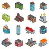 De Isometrische Geplaatste Pictogrammen van stadsgebouwen Stock Foto's