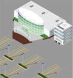 De isometrische het ziekenhuisbouw Stock Afbeelding