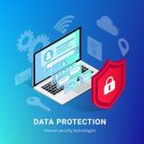 De isometrische Internet-banner van de veiligheidsgradi?nt royalty-vrije illustratie
