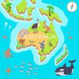 De Isometrische Kaart van Australië met Flora en Fauna vector illustratie