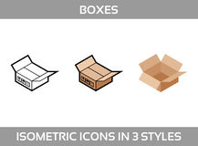 De isometrische karton verpakkende dozen plaatsen in drie stijlen met post omhoog tekens deze kant Royalty-vrije Stock Afbeeldingen
