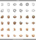 De isometrische karton verpakkende dozen plaatsen in drie stijlen met posttekens deze omhoog breekbare kant Stock Foto