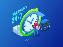 De isometrische leveringsdienst Leveringsbestelwagen en pakketmens Vlakke stijl vectorillustratie Royalty-vrije Illustratie