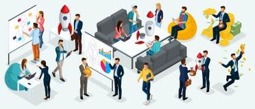 De isometrische mensen, ondernemers leggen een nieuw businessplan van startproject, ontwikkeling van voor investeringsonderzoek stock illustratie