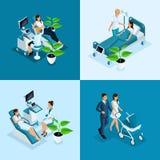 De isometrische 4 miniconcepten van de Moederschapskliniek, ultrasone klank, controlerend een zwangere vrouw, die pathologie, ver royalty-vrije illustratie