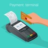 De isometrische Pos terminal bevestigt de betaling door debet-creditkaart stock illustratie