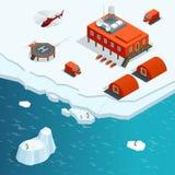 De isometrische post van Antarctica of polaire post met gebouwen, de meteorologische toren van de onderzoekmeting, voertuigen stock illustratie
