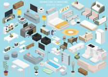 De isometrische reeks van de het planinzameling van de meubilairvloer Stock Afbeeldingen