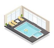 De Isometrische Samenstelling van het recreatie Zwembad royalty-vrije illustratie