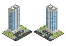 De isometrische samenstelling van stadshuizen met de bouw en weg geïsoleerde vectorillustratie Inzameling van stedelijke elemente stock illustratie