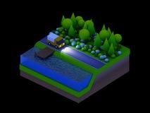 De isometrische stadsgebouwen, het landschap, de Weg en de rivier, nacht scen Stock Foto