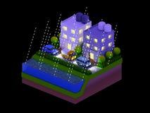 De isometrische stadsgebouwen, het landschap, de Weg en de rivier, nacht scen Royalty-vrije Stock Afbeeldingen