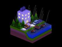 De isometrische stadsgebouwen, het landschap, de Weg en de rivier, nacht scen Stock Afbeelding