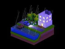 De isometrische stadsgebouwen, het landschap, de Weg en de rivier, nacht scen Stock Fotografie