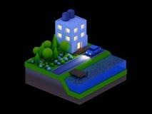De isometrische stadsgebouwen, het landschap, de Weg en de rivier, nacht scen Royalty-vrije Stock Foto's